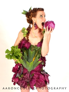Anne-Marie Keppel in a dress of fresh veggies, designed by Elizabeth Pieroni.