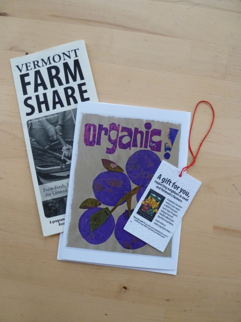 Farm Share Gift orders include a Bonnie Acker art card, a plantable gift tag embedded with wildflower seeds, and a Vermont Farm Share Program brochure.