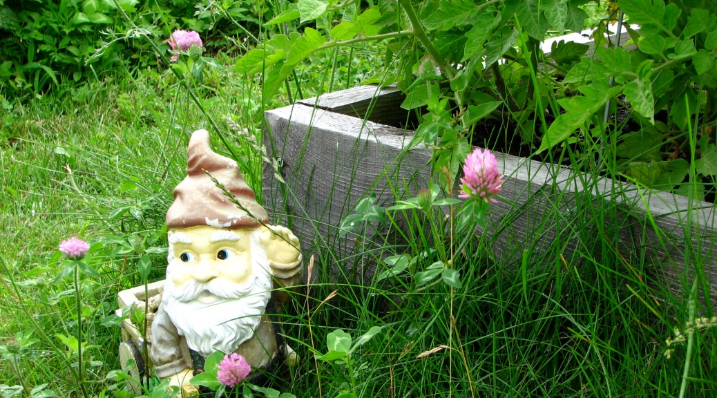 A gnome guards a community garden plot in Burlington.