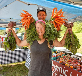 "Karin Bellemare ""Queen Beet and King Carrot"" at the Barre Farmers' Market"