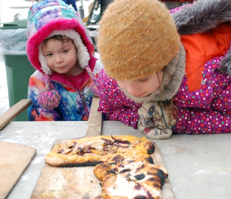 Children's Conference participants concocted unique flatbreads which they cooked themselves outside the Davis Center in the NOFA wood-fired stone oven.