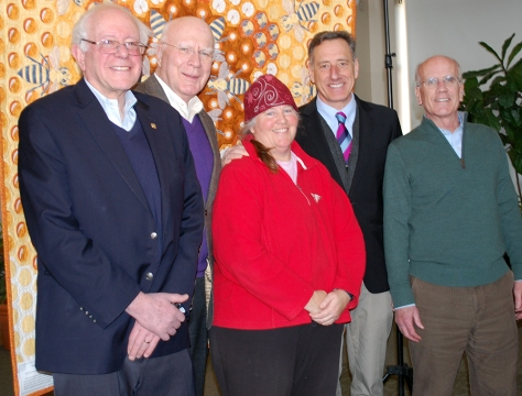 Vermont farmers are blessed with a supportive Congressional delegation. Appearing at the Winter Conference to speak to a packed house were, from left to right: Senator Bernie Sanders, Senator Patrick Leahy, NOFA Vermont Executive Director Enid Wonnacott, Governor Peter Shumlin, and Representative Peter Welch.