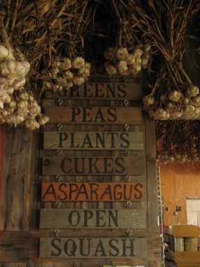 Sign for farm stand: GREENS | PEAS | PLANTS | CUKES | ASPARAGUS | OPEN