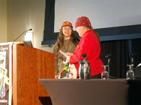 Cat Buxton is the 2015 recipient of the Jack Cook Award, an award given annually to a NOFA-VT member who embodies the theme of the conference and shares their knowledge with others.  Cat is the past Education Coordinator of Cedar Circle Farm in East Thetford and is currently serving as the Field Organizer for the Vermont Right to Know GMOs Coalition.  Thank you for your efforts and congratulations Cat!