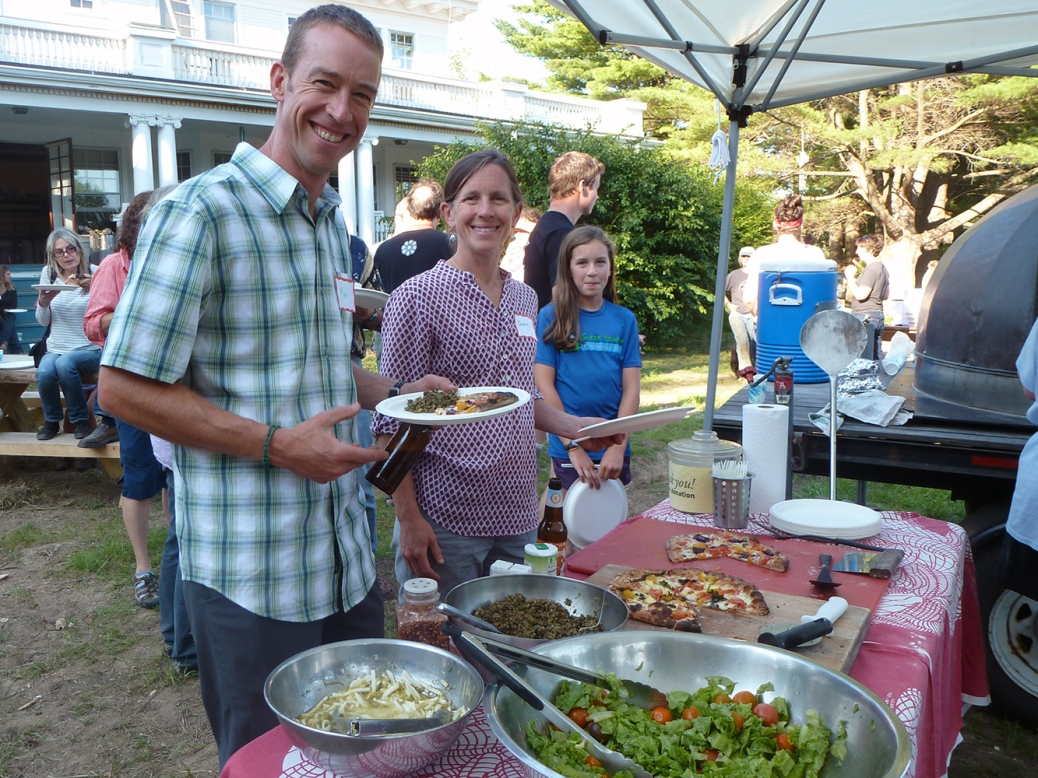 "Ben Freeman, a community member from Peru, VT, enjoyed delicious farm-fresh food at the ""Celebrate Your Farmer"" social in Manchester, VT."