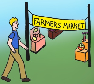 1. Go to a participating farmers market.