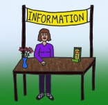 2. Look for the market's information booth or the yellow banner.